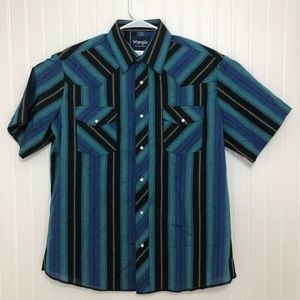 WRANGLER WESTERN PEARL SNAP SS SHIRT SIZE L LARGE